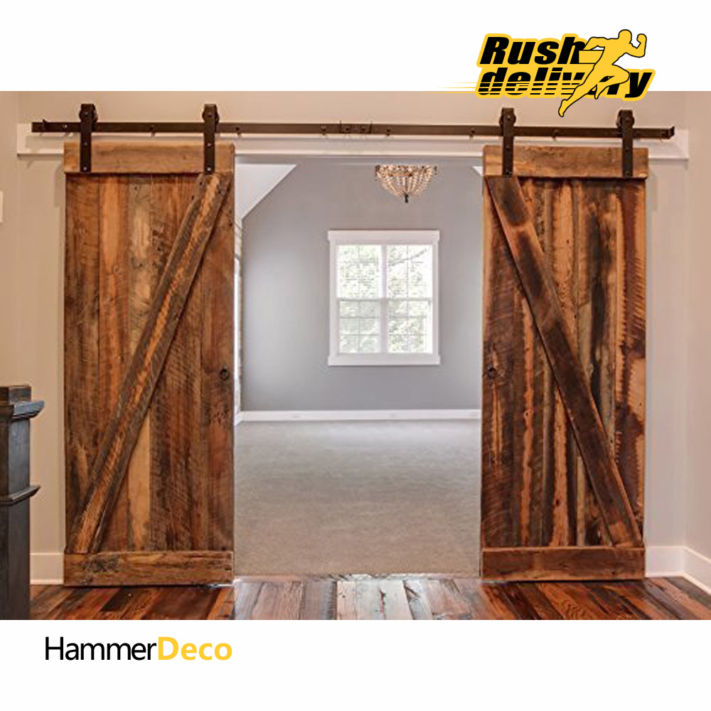Barn door hardware shop and buy online - 10 16 Ft Black Steel Sliding Doors Sliding Door Hardware American Country Style Barn Hardware