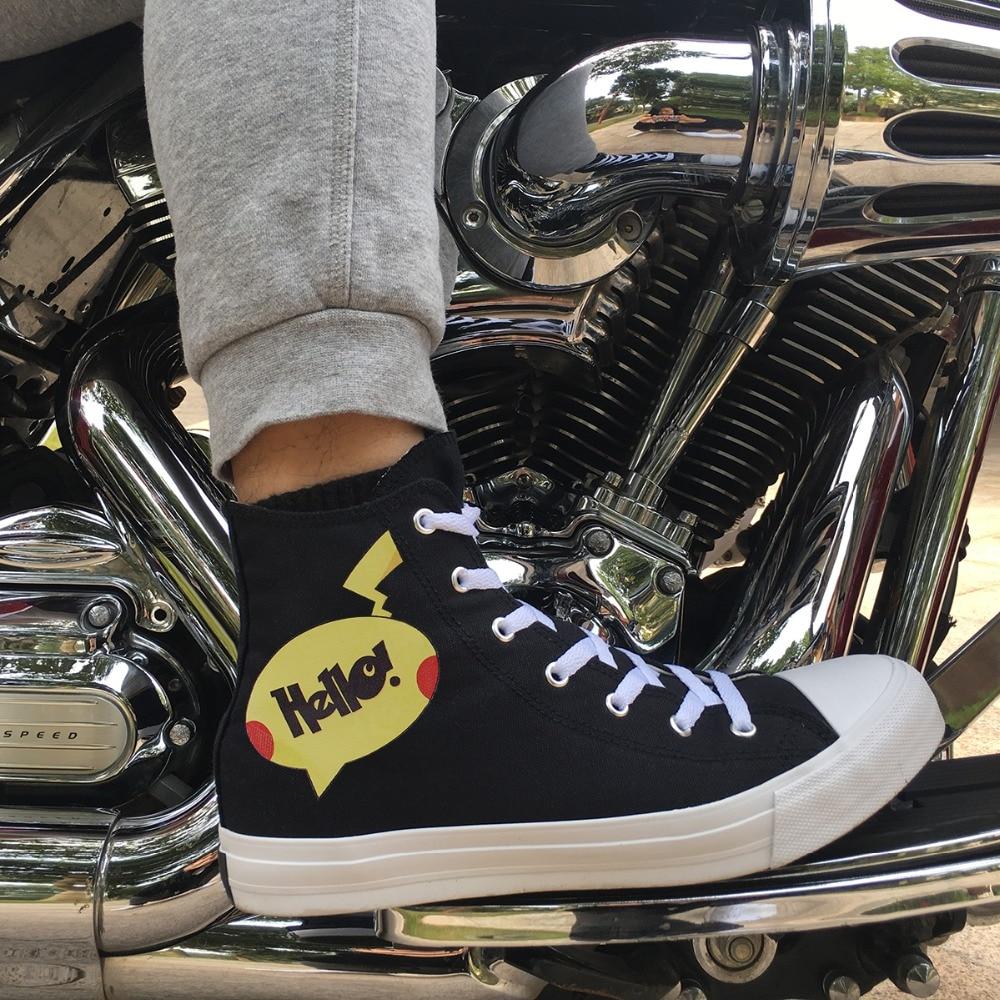 Wen Design Pokemon Style Hello! Go! Typography Game Canvas Women Shoes Classic Black High Top Men Skateboard Sneakers