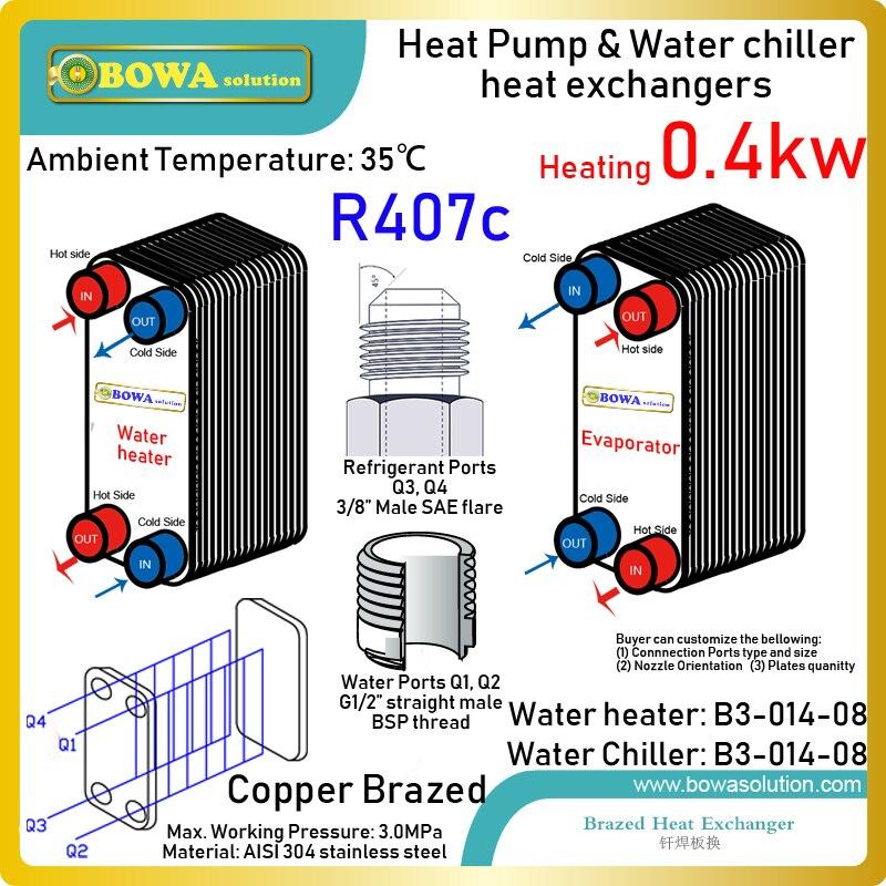 1400BTU охладители воды и водонагреватель выберите ANSI 304 пластинчатые теплообменники из нержавеющей стали в обратном цикле Карно