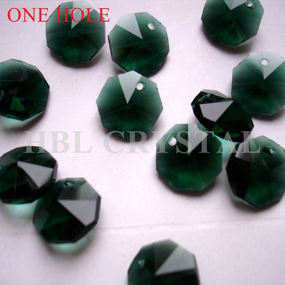 Chandelier Lamp Beads Decorating Christmas Tree Beads Fixing Prices According To Quality Of Products 100pcs/lot 14mm Emerald Octagon Crystal Beads In One Hole Free Shipping Lighting Accessories