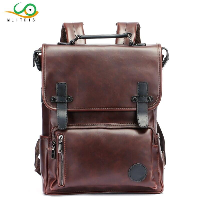 MLITDIS Men Backpacks Rain Cover PU Leather School Bag For teenagers College Schoolbag Travel Laptop Bag Bookbag Bolsas Mochila