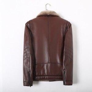 Image 5 - 冬のビジネスの男性本革ジャケット厚いウールライニングショートコートのオフィス作業高級シープスキンムートンレザーコートをジャケットプラスサイズ