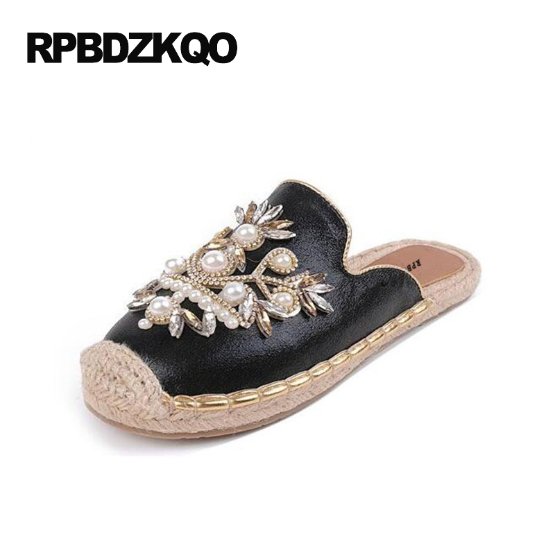 Pearl Women Slip On Black Mules Flats Casual Espadrilles Rhinestone Metal Slippers Round Toe Ladies Beautiful Shoes Flower