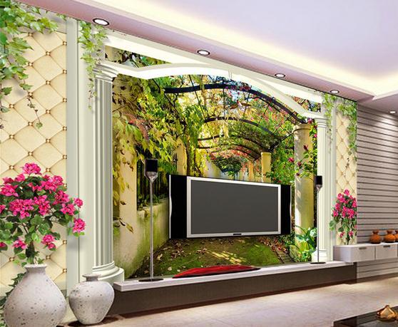 Wall Paper European Soft Pack 3d Fantasy Garden Aisle Waterfall Mural Stickers Wallpaper Papel De