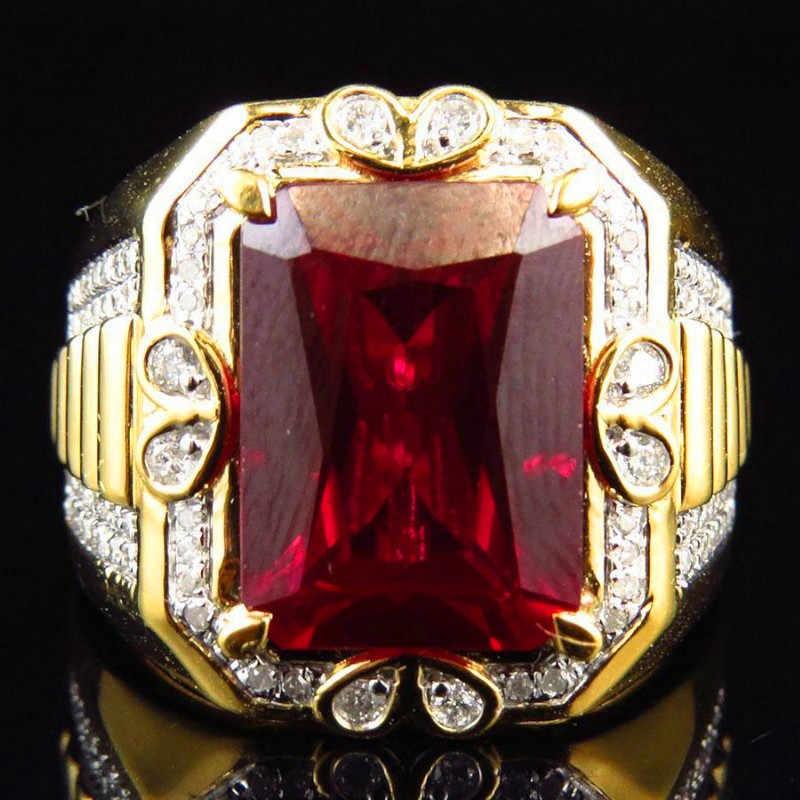 งดงามชายหินสีแดงแหวนแฟชั่น 18KT ทองคำขาวแหวนแต่งงานแหวนหมั้นสำหรับผู้ชาย