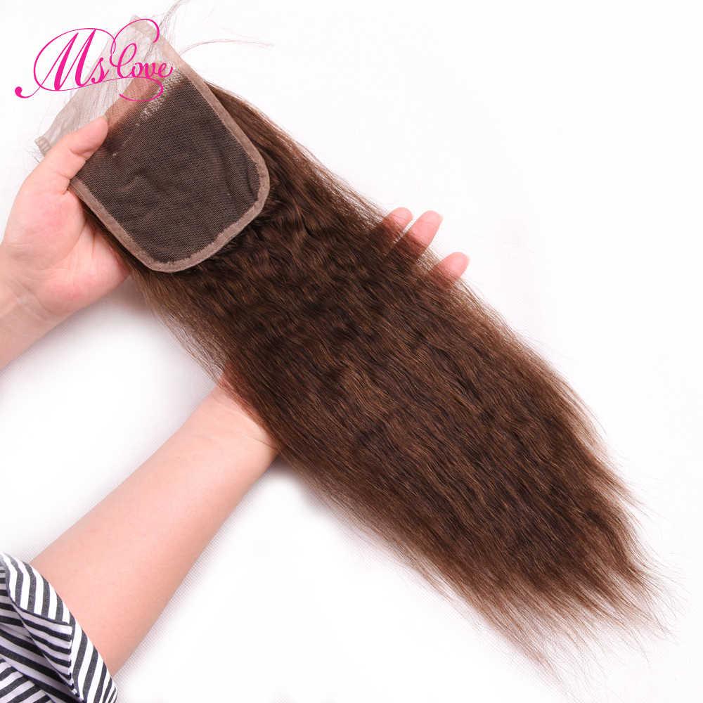#2 #4 brązowe wiązki z zamknięciem perwersyjne prosto z zamknięciem brazylijskie włosy wyplata wiązki ludzkie włosy 3 zestawy z zamknięciem Remy