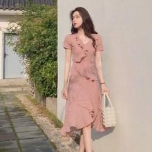 2019 Summer Women Boho Polka Dot Maxi Dress Ruffles Chiffon Elegant V Neck Beach Sundress