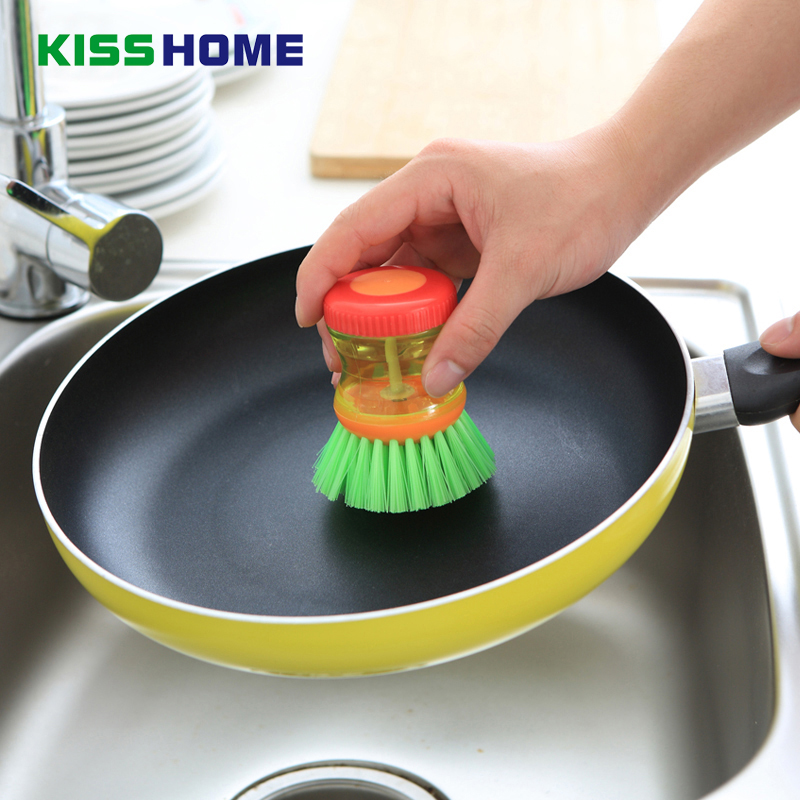 3 Color Creative Kitchen Cleaning Brush Detergent Tank Plastic Dish Bowl Utensils Press Washing Liquid Soap Dispenser Accessorie