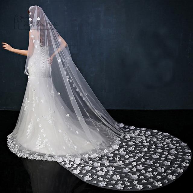 Wholesale/Retail 3 Meters White/Ivory Long Wedding Veils Flowers Bridal Veil Wedding Accessories Veu de Noiva Longo Free Ship