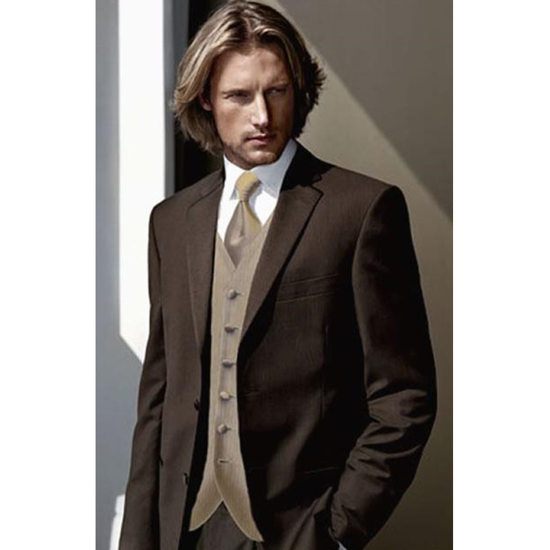 182 Custom Made Classic Style Two Button Brown Groom Tuxedos Groomsmen Mens Wedding Suits Prom Dress (Jacket+Pants+Vest) NO211