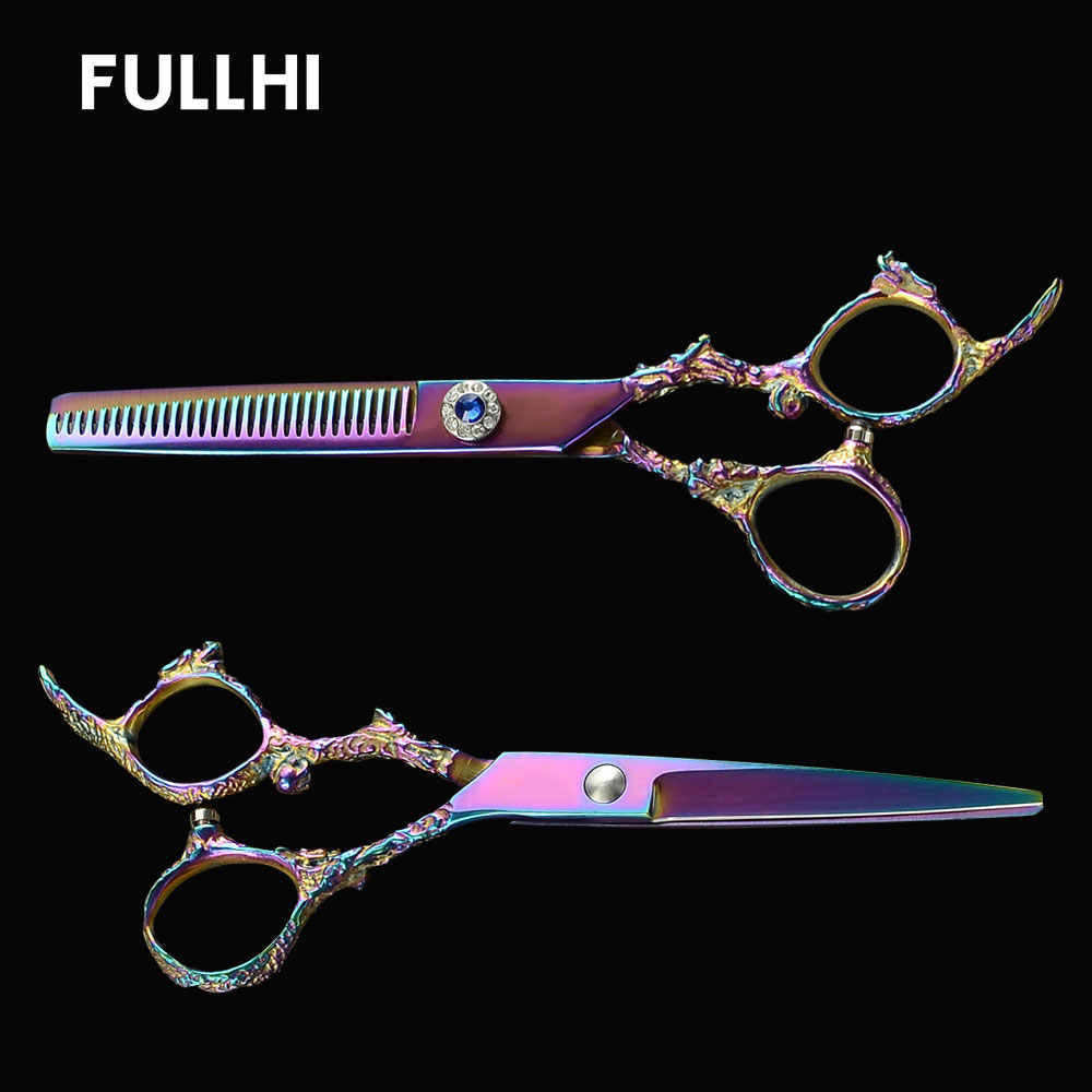 Dragon Sculpture Handle Dog Grooming Hairdressing Scissors Cutting Thinning Hair Scissors Accessories for Pet Haircuts with Case