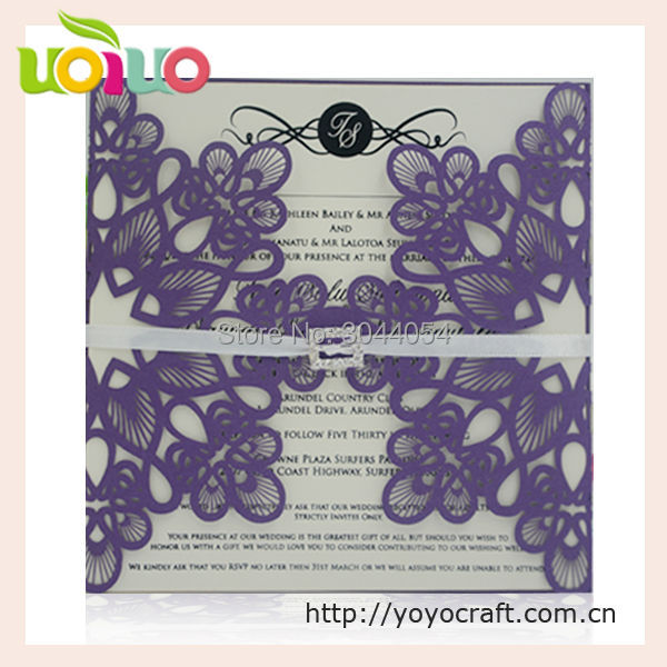 Purple pearl paper laser cut flower wedding card design online