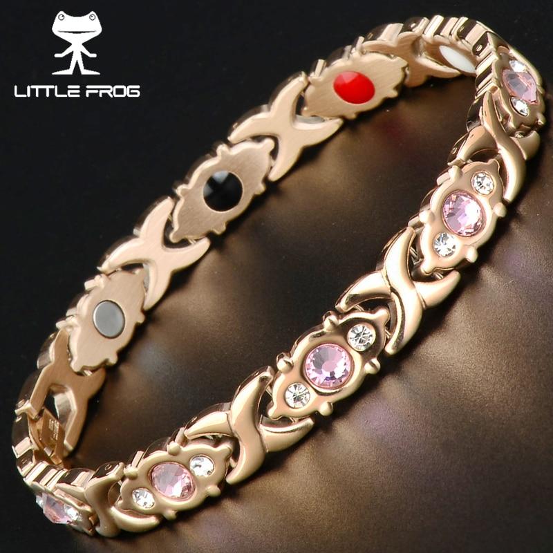 LITTLE FROG Crystal Gem Woman Magnetic Bracelet Health Energy Gold Jewelry Lady Stainless Steel Bracelets Bangles