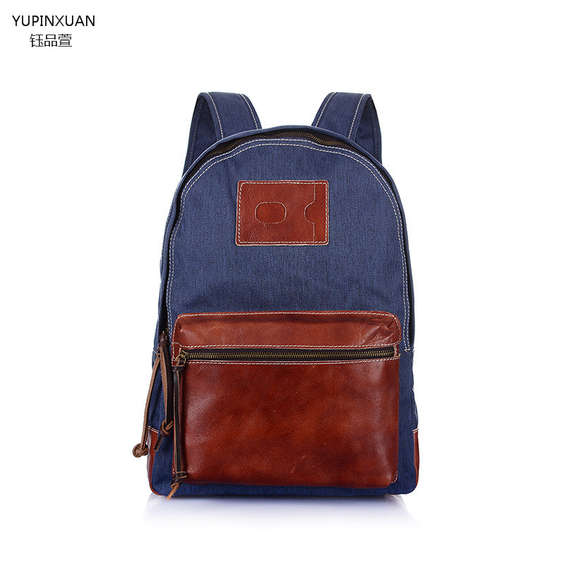 YUPINXUAN Vintage Fashion Casual Canvas Cow Leather Unisex Backpack Backpacks Shoulder Bag Bags For Lady Rucksack Mochila