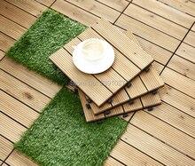 11pcs 30*30*2.6cm Interlocking Flooring Tiles In Solid Teak Wood Suitable for Indoor and Outdoor Applications Stripe Pattern Rug
