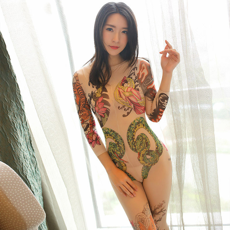 2017 Skin Sheer Open Crotch Japanese-style Vintage Tattoo Sexy Pantyhose Bodystockings For WomenLingerie Nylon Stockings Tights