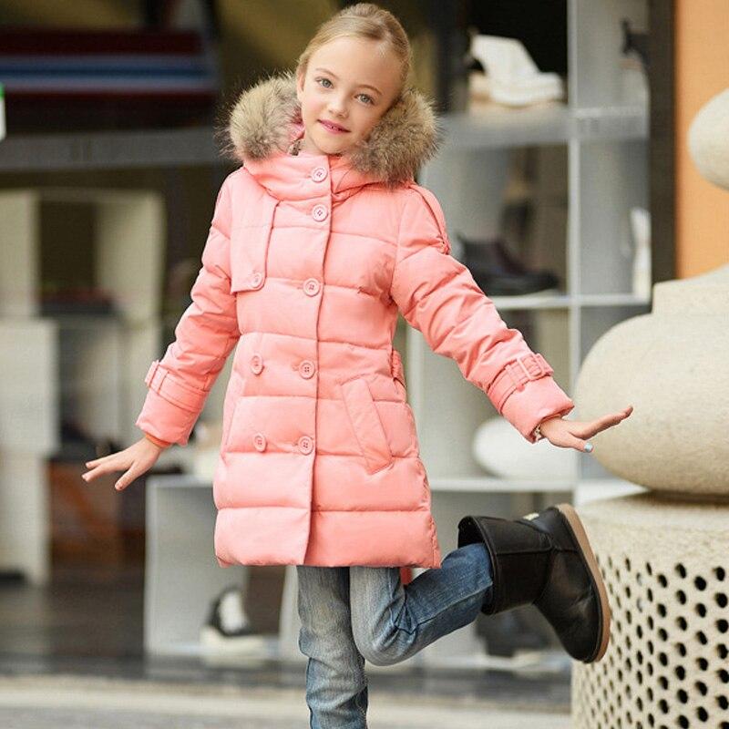 ФОТО 2016 Fashion Girls Winter Long Slim Belt Jackets Children White Duck Down Snowsuit Kids Thickening Warm Fur Collar Hooded Coats