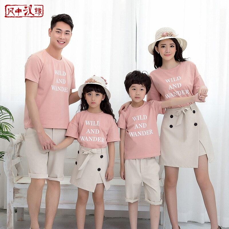 T-shirts en coton costume famille correspondant vêtements fille jupe robes pour mère et fille garçon t-shirts pantalons pour papa et son