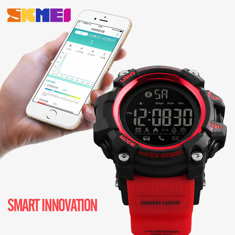 <font><b>SKMEI</b></font> Fashion Men Sport Watches 50m Waterproof Bluetooth Pedometer Calorie Multifunction Digital Wristwatches Relogio Masculino image