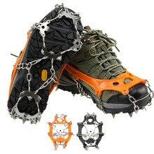 Un Par de 19 Dientes Crampones Hielo Nieve de Esquí Picos antideslizantes Cubren Los Zapatos de Tacos Cadena Krampon para Acampar senderismo Escalada
