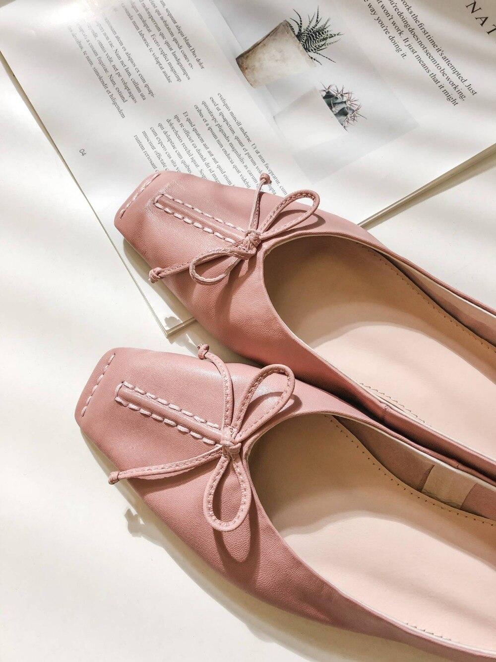 Krazing olla de gran tamaño pajarita de lujo natural vintage de cuero cuadrado del dedo del pie resbalón en mocasines elegante chicas zapatos de abuela L70-in Zapatos planos de mujer from zapatos    2