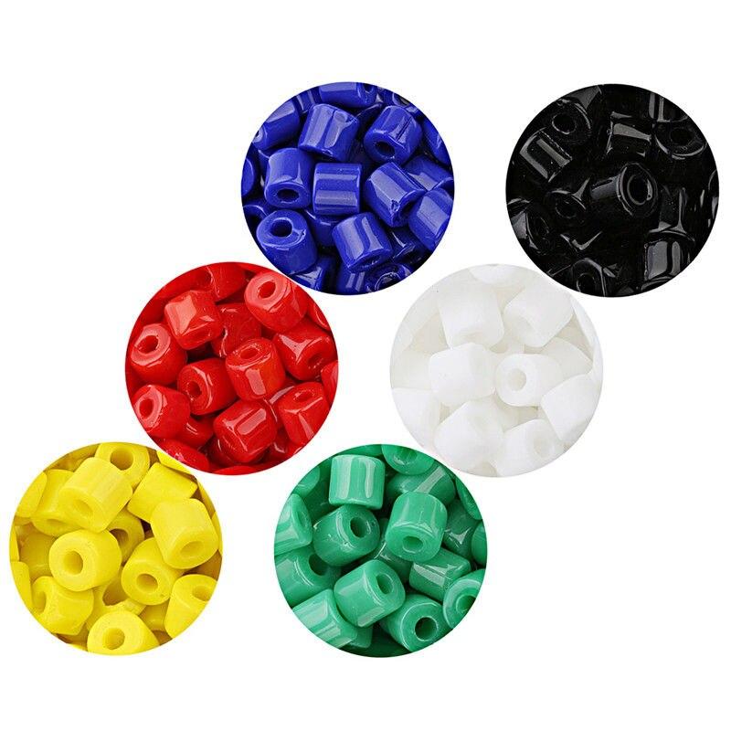 LOULEUR 80 pièces 6 couleurs perles de cristal cylindre 7mm couleur Pure perles de verre entretoise en vrac pour Bracelets à faire soi-même