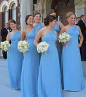 Newest Blue Chiffon One Shoulder 2017 A Line Bridesmaid Dresses Pleat For Wedding Party Long Formal