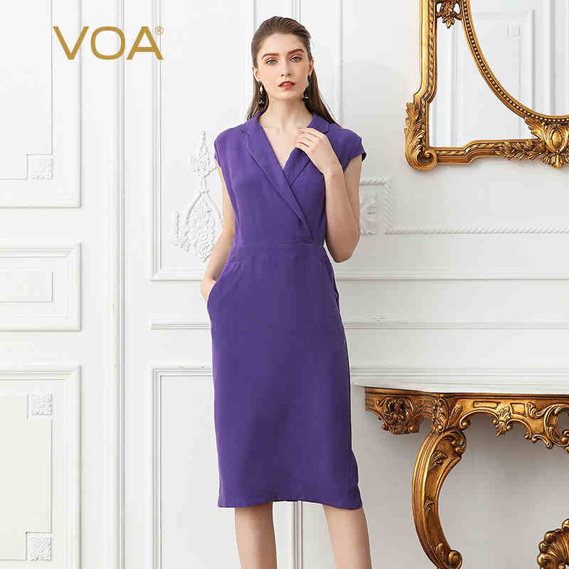 VOA 2018 mode violet grande taille bureau dame taille haute Slim robe crayon brève solide femmes lourdes soie tunique robes automne A1059