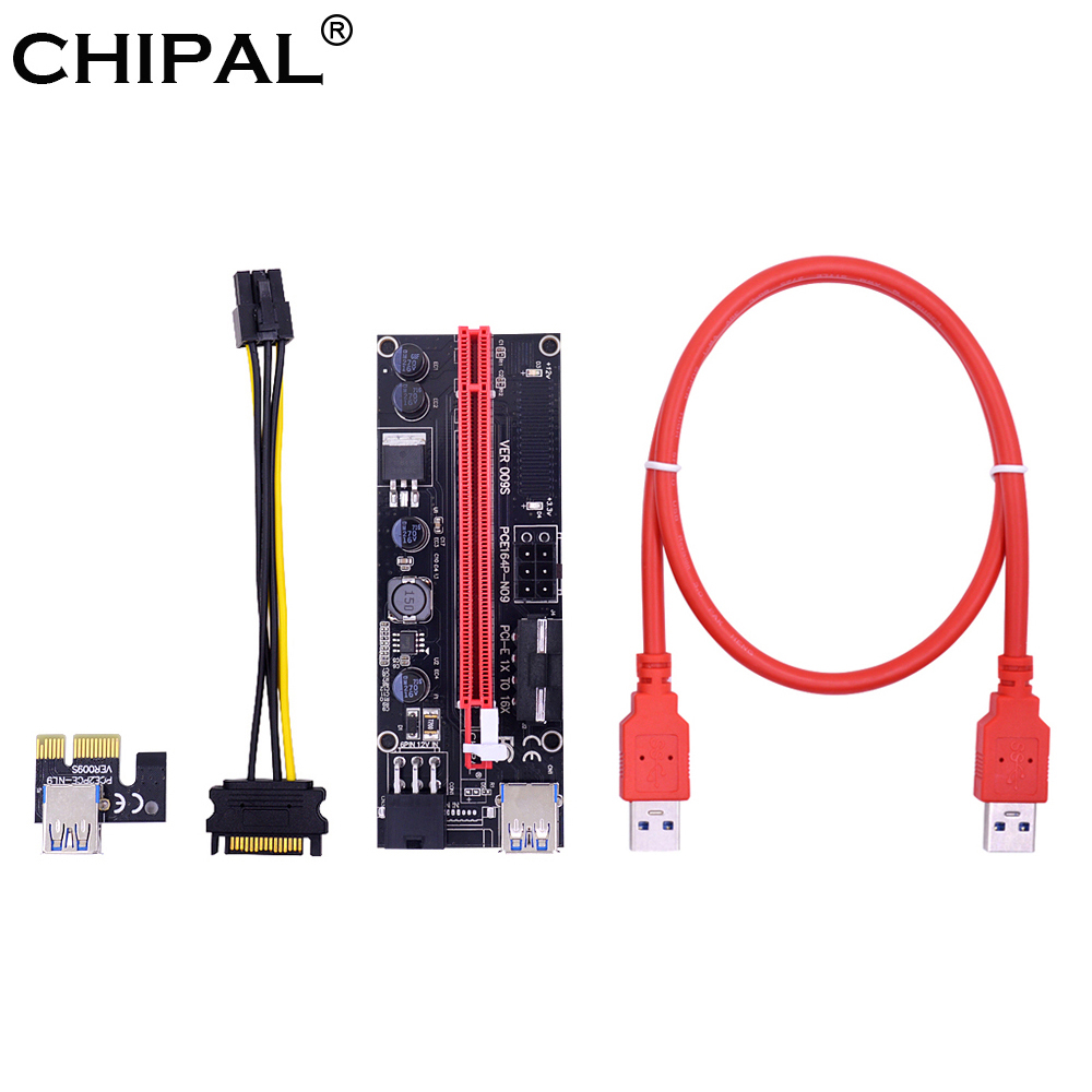 CHIPAL 10PCS VER009S PCI E Riser Card PCIE 1X to 16X Extender with LED + 0.6M USB 3.0 Cable / Molex Power Supply for BTC Miner-in Computer Cables & Connectors from Computer & Office    1