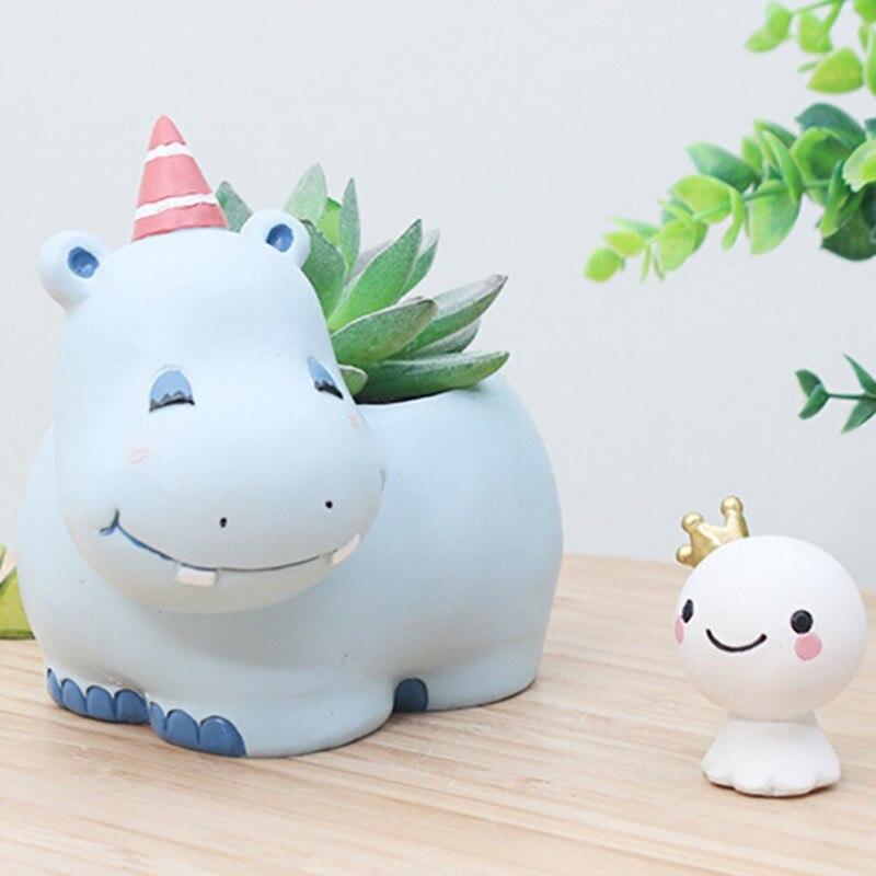 Home Desktop Decor Cartoon Animal Shaped Flower Pot Cactus Succulent Plant Pots Decorative Planters Office Decorations