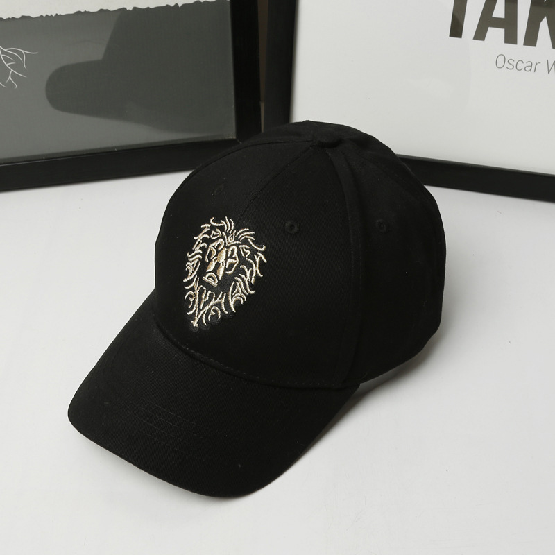 Lion Embroidery Pattern Baseball Cap Women Men Solid Color Cotton Hat Unisex Fashion Casual Adjustable Sunscreen Caps CP0115  (10)