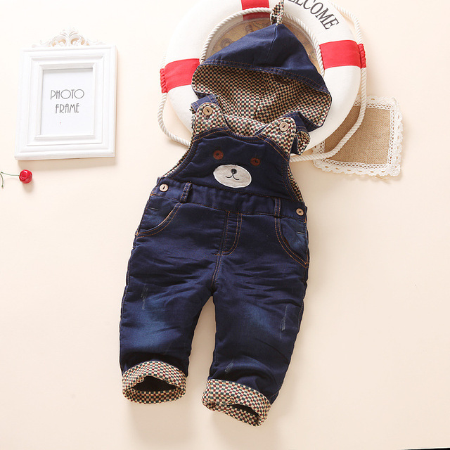 Nuevo Bebé Niños de La Moda Denim Jeans Monos Monos Niños Pantalones Del Babero Del Bebé Pantalones de Las Muchachas, Además de Terciopelo Grueso Pantalones