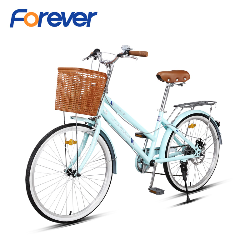 FOREVER Shuttle Ladies Bicycle High-Carbon Steel Frame for Students Commuters Princess City Bike Commuting Bike for Women 24in image