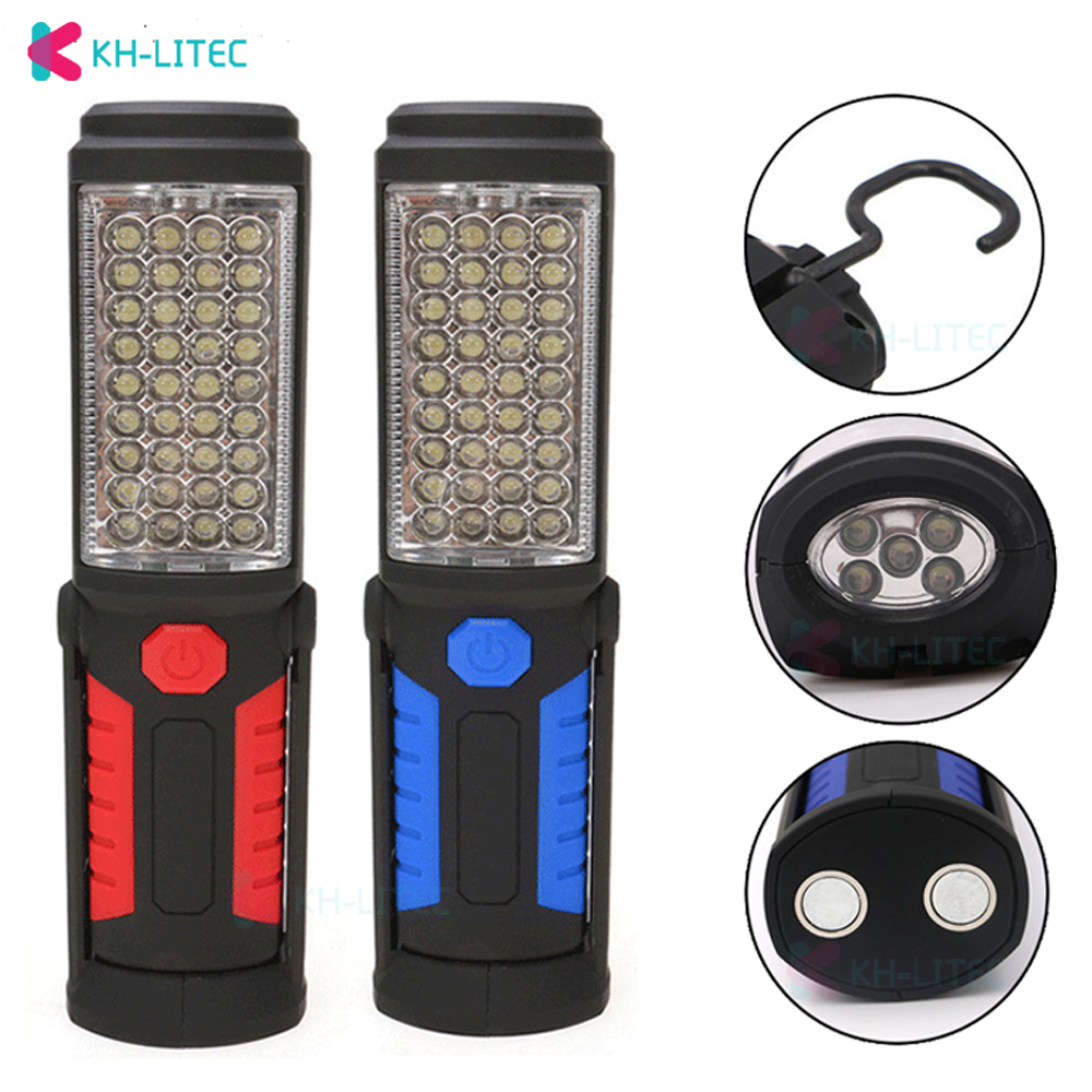 USB Charging 3 AA 36 5LED Magnetic Work Hand Flashlight Emergency Inspection Work Torch Light Hook