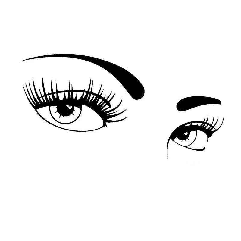 17.7*8.9CM Một Cặp Đôi Mắt Đẹp Của Xe Ô Tô Phủ Toàn Thân Của Thời Trang Vincy Đề Can Đen/Bạc C7-1110
