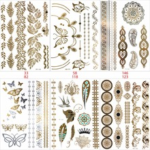 6 PCS/lot Temporary Tattoo Women Gold Tattoo Flash Tattoos Transferable Jewelry Henna Tattoo Body Art Sex Product Stickers