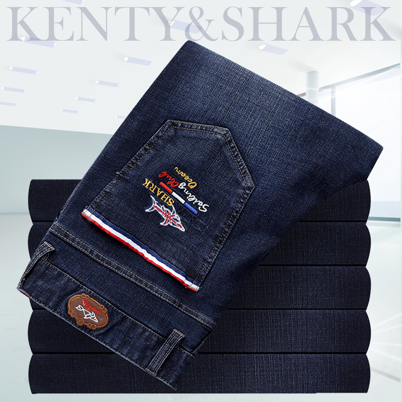 Kenty&shark branded   jeans   men   Jeans   2019 new cotton embroidery business casual waist pants size of England billionaire