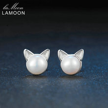 LAMOON New Cat Ear Stud Earrings S925 100% Real Sterling Sliver Women Wedding Bridal  Statement Fine Jewelry Party Gifts SEY168