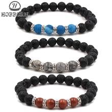 все цены на HOBBORN 8mm Natural Stone Men Bracelet Handmade Tiger Eye Map Stone Maix Strand Healing Reiki Prayer Balance Women Bracelets