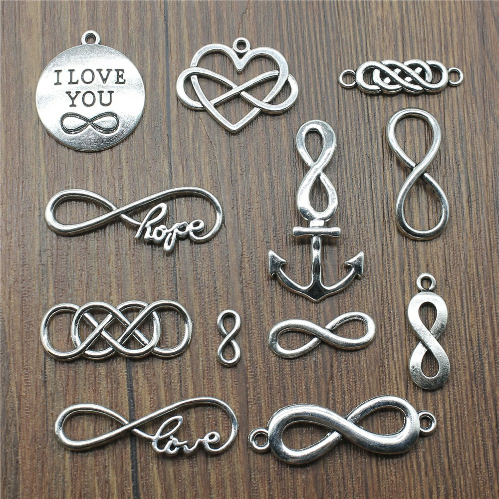 15pcs/lot Infinity Charms Connector Infinity Charms For Jewelry Making Love Infinity Charms Antique Silver Color