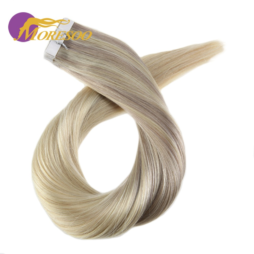 Moresoo Balayage Ombre Color Tape In Remy Hair Extensions Seamless Tape On Human Hair Ex ...