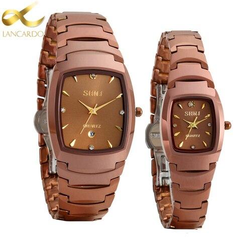 Relógio de Aço de Tungstênio para Homens e Mulheres Relógios para Mulheres Marca de Luxo Escuro das Senhoras Relógio de Quartzo Lancardo Retângulo Amantes Café Presente