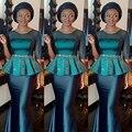 Verde de lujo Con Cuentas Peplum África de Noche Vestidos Largos de Satén Medias Mangas Vestido de Alta Costura de Gama alta Vestido de Noche Formal Vestidos Del Partido
