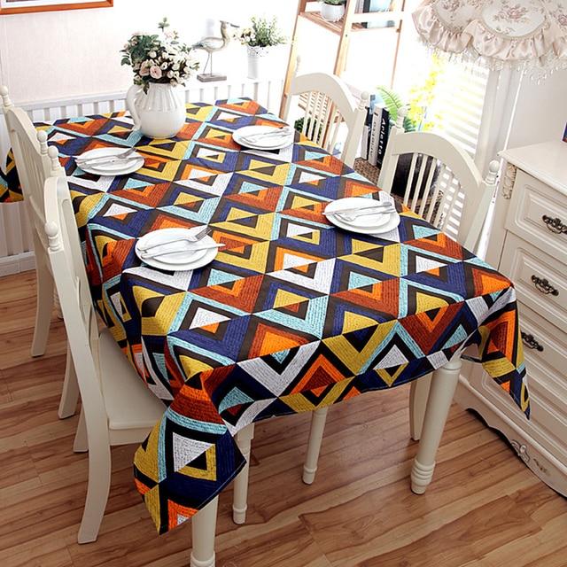 Algodão Espessamento Toalha de Mesa Padrão de Geometria Cor Emenda Lavável Jantar Banquete de Casamento de Natal Toalha De Mesa para o Café