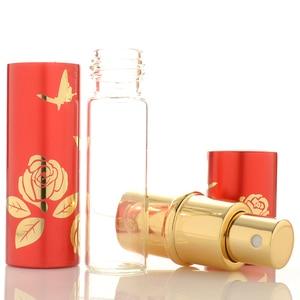 Image 5 - Luxury 10ml Glass Perfume Bottle Empty Aluminium Refillable Bottle Portable Metal Spray Atomizer 6Colors