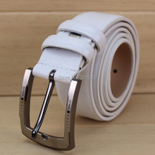 3.4cm colorful genuine leather pin buckle belt