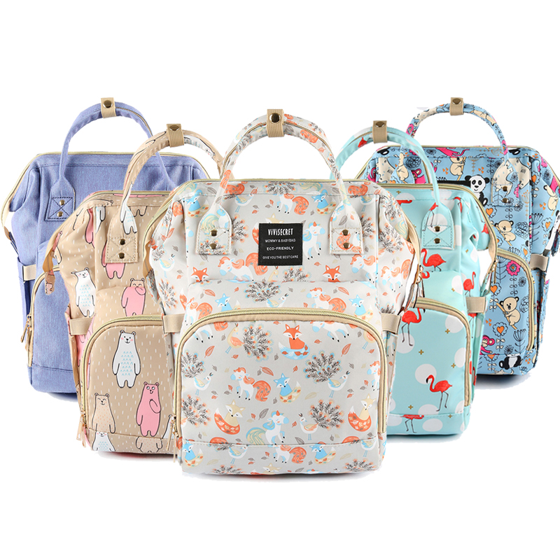 Diaper Bag Mummy Maternity Bag Cartoon Fox Baby Care Nappy Changing Backpack Bag Wheelchair Stroller Organize Baby Bag For Mommy