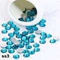1440 pçs/lote, ss3 (1.3-1.5mm) Zircão azul (Nail Art decorações de cristal) não Hot Fix Glue no Plano Voltar Pedrinhas para unhas