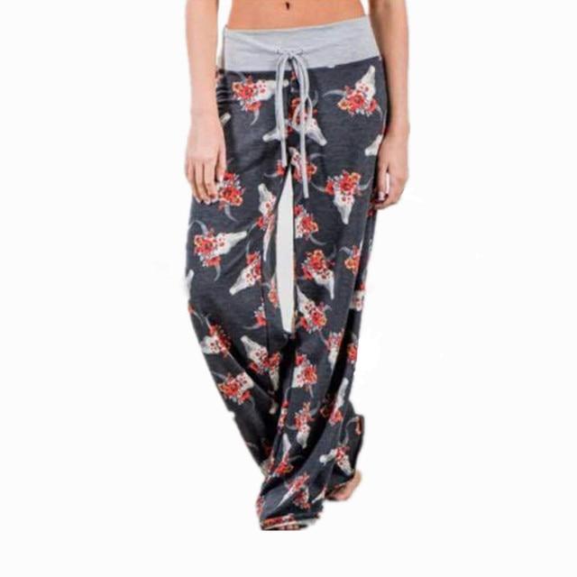 058db7a277b7 2017 New Arrival Wide Leg Pants Women Casual Palazzo Trousers Women Animal  Print Hight Waist Long Pants Fashion Plus Size XXXL