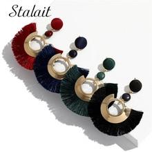 цена на Ethic Hollow Round Sequins Ribbon Tassel Earrings For Women Round Resin Fringe Earrings Wedding Jewelry